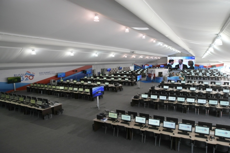 <p>A general view of the G20 Summit International Media Center in St. Petersburg, Russia, on Sept. 4, 2013.</p>