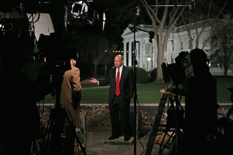 <p>Goldman Sachs back in the spotlight. This picture taken on Nov. 28, 2012, shows Goldman Sachs CEO Lloyd Blankfein being interviewed by television reporters after a meeting at the White House with President Barack Obama and other business leaders.</p>