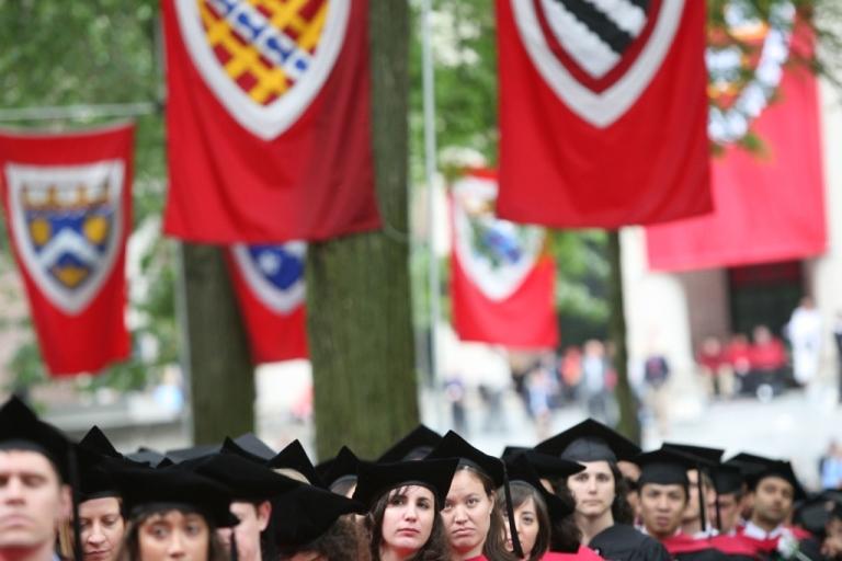 <p>Graduating Harvard University students attend commencement ceremonies June 5, 2008, in Cambridge, Massachusetts</p>