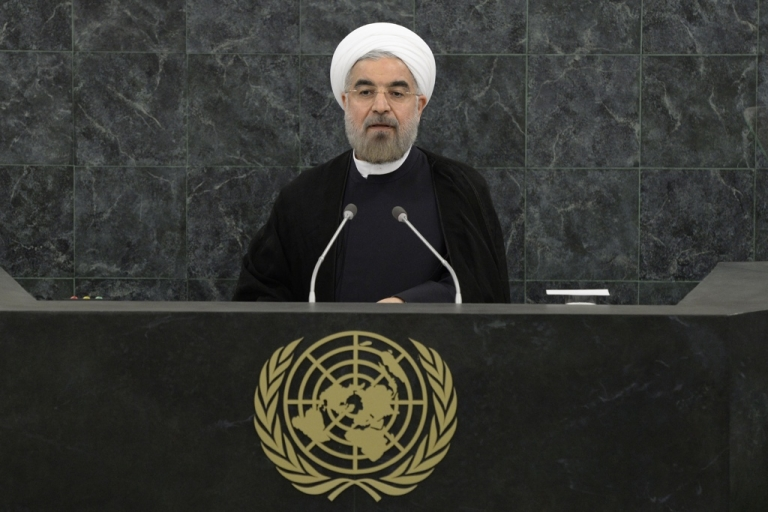 <p>Iranian President Hassan Rouhani addresses the UN General Assembly.</p>