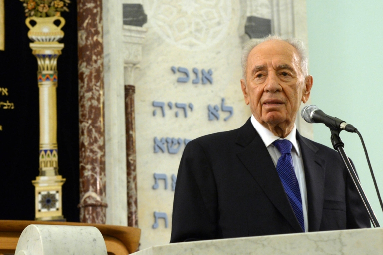 <p>Israeli President Shimon Peres speaks during a service in a Jewish Synagogue in Riga, Latvia.</p>
