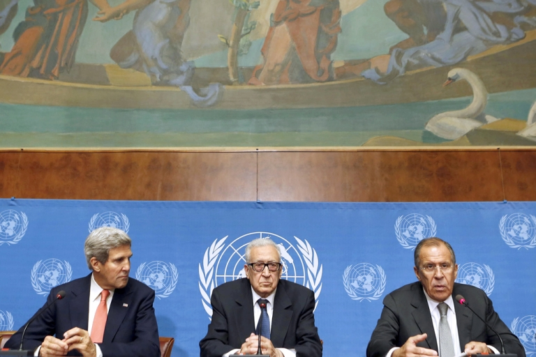 <p>Russian Foreign Minister Sergei Lavrov (R) speaks on September 13, 2013 during a press conference with United Nations-Arab League special envoy for Syria Lakhdar Brahimi (C) and US Secretary of State John Kerry after their high-stakes talks on Syria's chemical weapons at the UN headquarters in Geneva.</p>