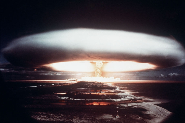 <p>A mushroom cloud appears in 1971 after a French nuclear test in the south Pacific atoll of Mururoa.</p>