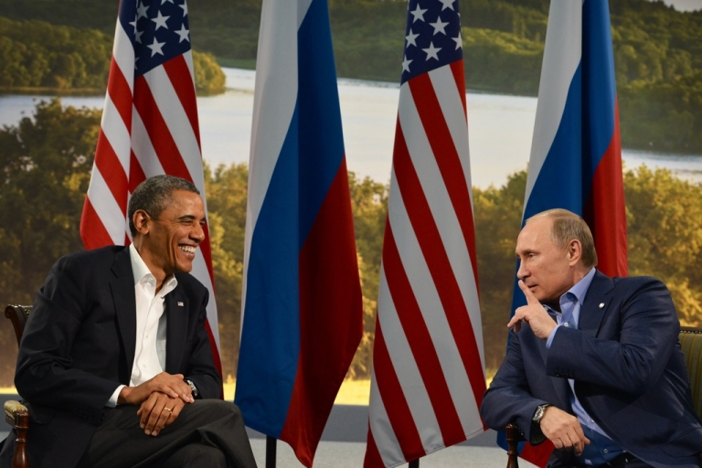 <p>US President Barack Obama (L) holds a bilateral meeting with Russian President Vladimir Putin during the G8 summit at the Lough Erne resort near Enniskillen in Northern Ireland, on June 17, 2013.</p>
