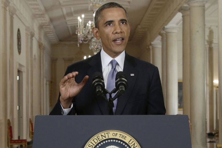 <p>President Barack Obama addresses the nation on Syria in a live televised speech from the East Room of the White House on Sept. 10, 2013 in Washington, DC.</p>