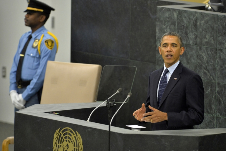 <p>US President Barack Obama addresses the 68th United Nations General Assembly at the UN in New York on September 24, 2013.</p>