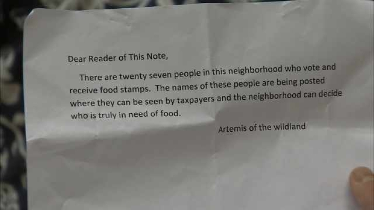 <p>Mystery letters have been showing up around Portland, Ore. threatening to name residents receiving food stamps and disability payments.</p>