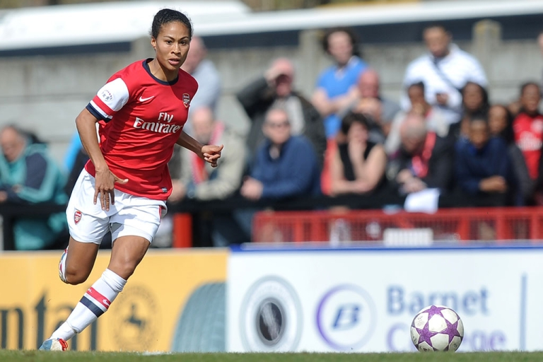 <p>Rachel Yankey of Arsenal passes the ball during the UEFA Women's Champions League semifinal against Germany's VFL Wolfsburg on April 14, 2013 in Borehamwood, England.</p>