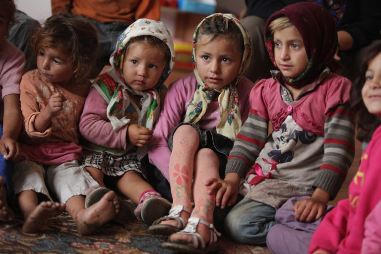 <p>Young Roma children attend a preschool class in the abjectly poor Roma settlement of Ponorata on September 11, 2013 in Ponorata, Romania.</p>