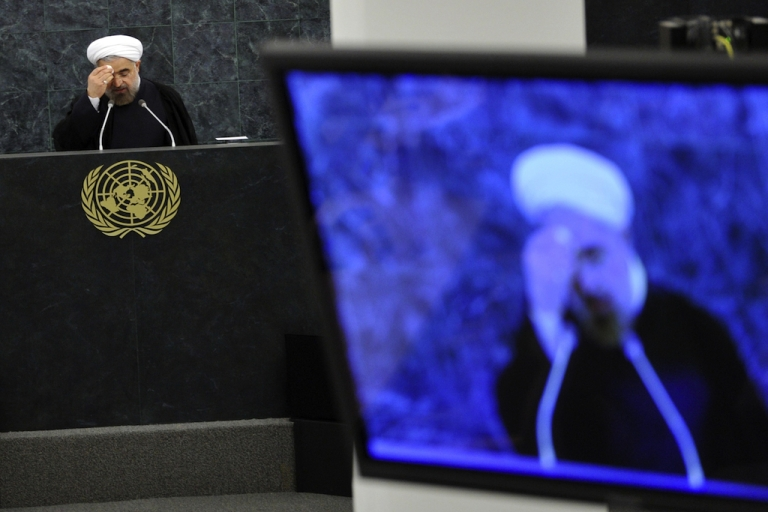 <p>Iranian President Hassan Rouhani addresses the United Nations General Assembly in New York on Sept. 24, 2013.</p>