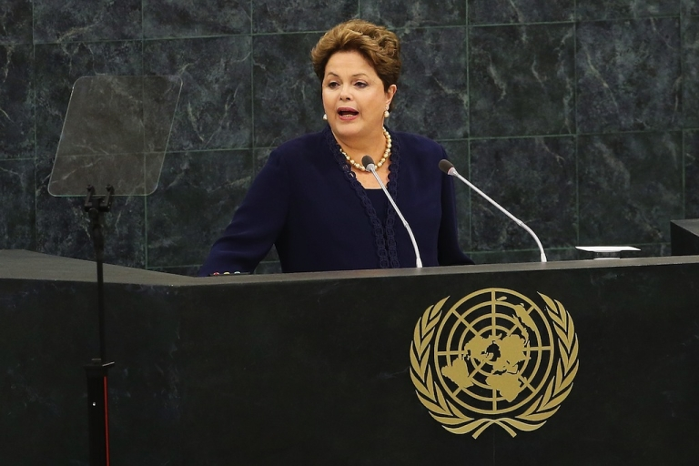 <p>Brazilian president Dilma Rousseff speaks at the UN General Assembly on Sept. 24, 2013 in New York City.</p>