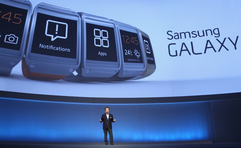 <p>Not, that's not Steve Jobs. Samsung's CEO of IT, J.K. Shin launches the Galaxy Gear smart watch.</p>