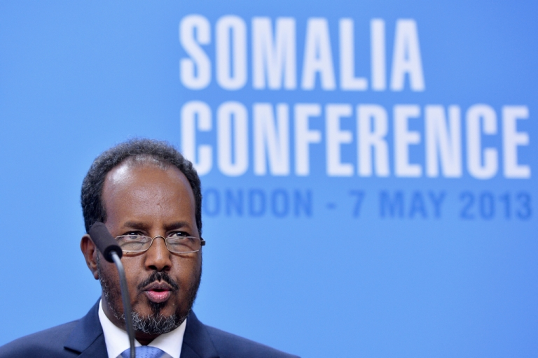 <p>tion:Somali President Hassan Sheikh Mohamud addresses a press conference in London, England in May 2013.</p>