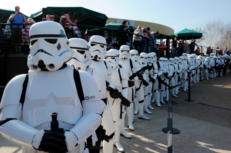 <p>Star Wars Stormtroopers pose for photographers in a queue at Legoland in London to mark the launch of the new Star Wars Miniland Experience.</p>
