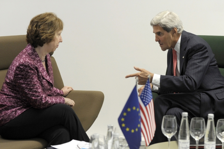 <p>US Secretary of State John Kerry (R) speaks with European Union High Representative Catherine Ashton on Sept. 7, 2013, before the Meeting of EU Ministers of Foreign Affairs at the National Gallery of Art in Vilnius, Latvia. Kerry sought to muster European Union support for military strikes against Syria, after a G20 summit failed to resolve bitter international divisions on the issue.</p>