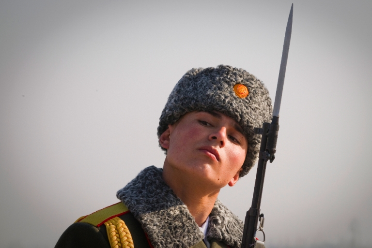 <p>A Tajik soldier is pictured at Dushanbe airport on January 1, 2012.</p>