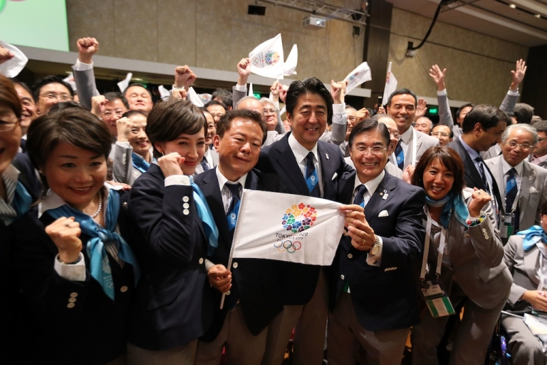 <p>BUENOS AIRES, ARGENTINA - SEPTEMBER 07: Prime Minister of Japan Shinzo Abe (3L) celebrates with the delegation as Tokyo is awarded the 2020 Summer Olympic Games during the 125th IOC Session. Tokyo was selected over rival cities Madrid and Istanbul.</p>