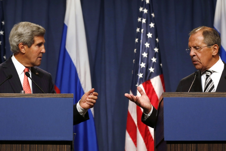 <p>US Secretary of State John Kerry (L) holds a joint press conference with Russian Foreign Minister Sergei Lavrov in Geneva on September 14, 2013 after they met for talks on Syria's chemical weapons.</p>