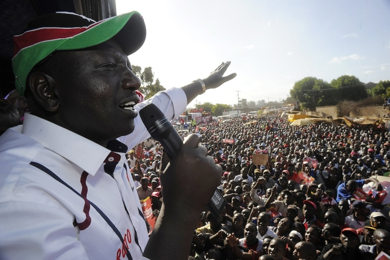 <p>Kenya's Deputy President William Ruto addresses supporters during a political rally in the capital Nairobi on Feb. 13, 2013.</p>