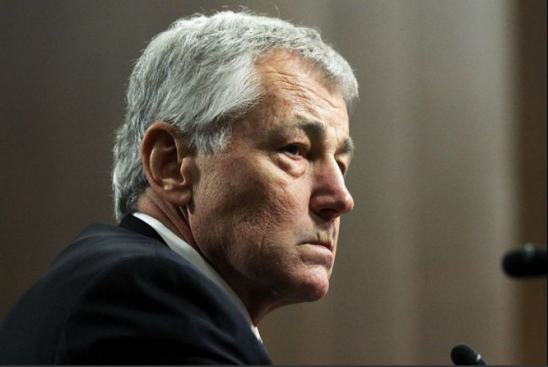 <p>Former US Senator Chuck Hagel testifies before the Senate Armed Services Committee during his confirmation hearing to become the next secretary of defense on Jan. 31, 2013, in Washington, DC.</p>