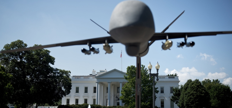 <p>A model of a drone on Pennsylvania Avenue outside the White House.</p>