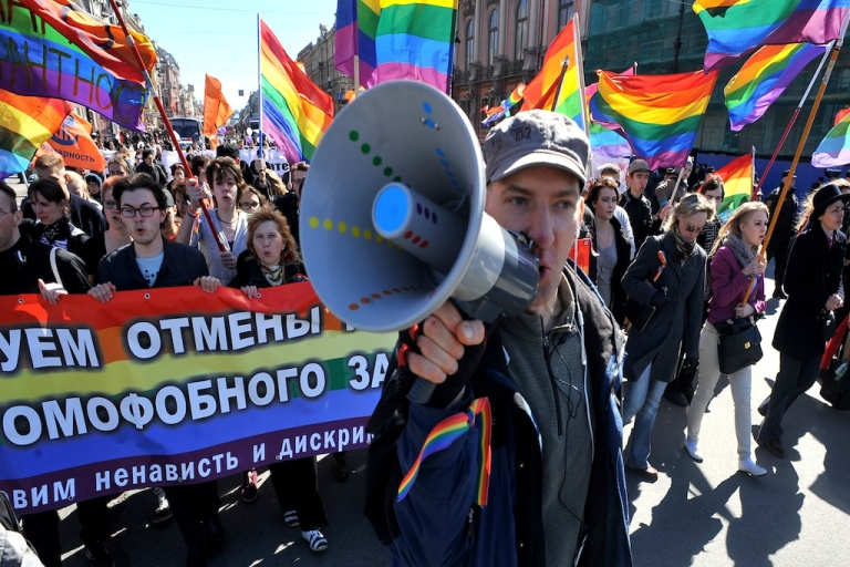 <p>May 1, 2013 — Gay rights activists march in Russia's second city of St. Petersburg during their rally against a controversial law.</p>