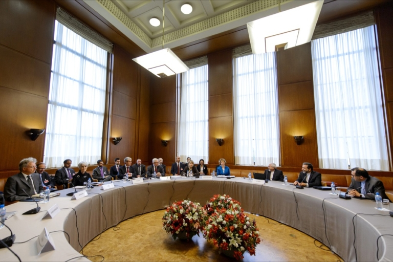 <p>The delegations of Iran and Western powers sit prior the start of two days of closed-door nuclear talks on Oct. 15, 2013 at the United Nations offices in Geneva.</p>