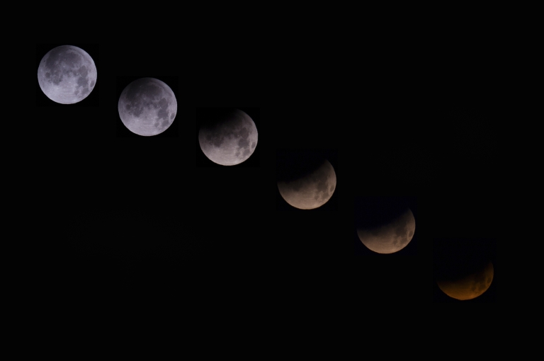 <p>A combination of 6 pictures shows the moon in different stages of a total lunar eclipse seen from the Spanish Canary island of Tenerife on April 15, 2014. People in most of north and south America should be able to witness this year's first total lunar eclipse, which will cause a 'blood moon' and is the first of four in a rare Tetrad of eclipses over the next two years.</p>