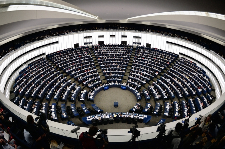 <p>Members of the European Parliament vote during the last plenary session before May 25 elections on April 15, 2014 at the European Parliament in Strasbourg, eastern France.</p>