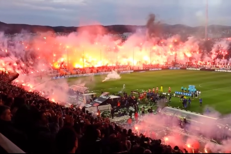 <p>PAOK fans light thousands of flares at Toumba Stadium in Thessaloniki, Greece on April 16, 2014.</p>