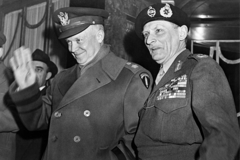 <p>US General Dwight David Eisenhower, then supreme commander of the Combined Land Forces in NATO, waves as he poses with British Marshal Bernard Law Montgomery, deputy NATO chief, in 1951 in Paris. In 1952 the popularity Eisenhower had gained in Europe swept him to victory in the US presidential elections.</p>