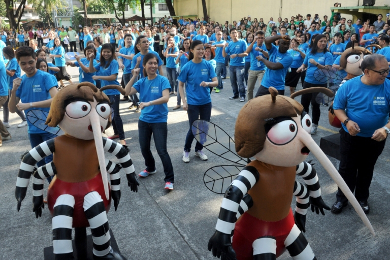 <p>Employees from the Philippines Department of Health perform a