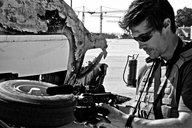 <p>James Foley reporting in Tripoli, Libya in August 2011.</p>