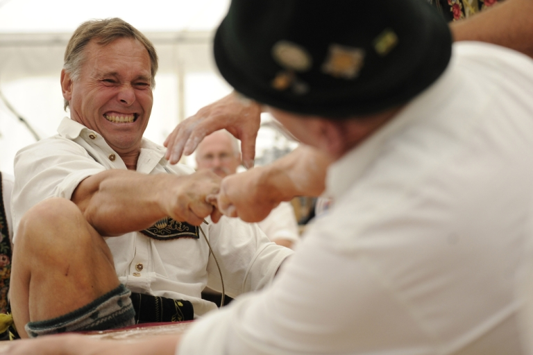 <p>Two competitors face off in the 55th German Finger Wrestling championships on Aug. 3, 2013 in Garmisch-Partenkirchen, Germany.</p>