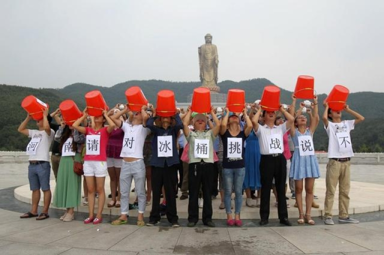 <p>People in drought-stricken Henan province in central China protest the ALS #IceBucketChallenge, saying it's a waste of water.</p>
