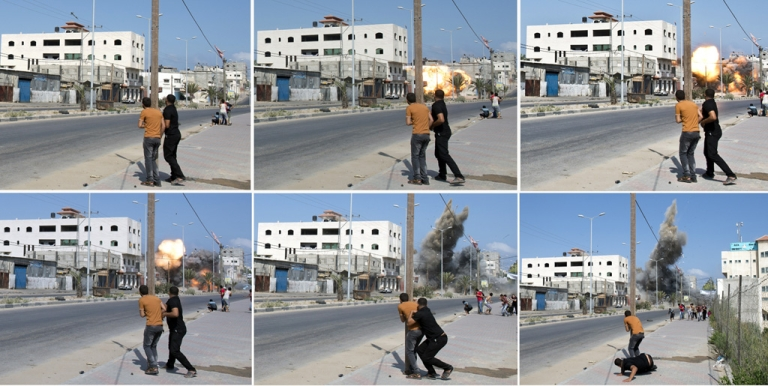 <p>A combination of pictures taken in Gaza City on Aug. 23, 2014 shows Palestinian men watching and then running as an Israeli bomb hits its target in the Palestinian enclave.</p>