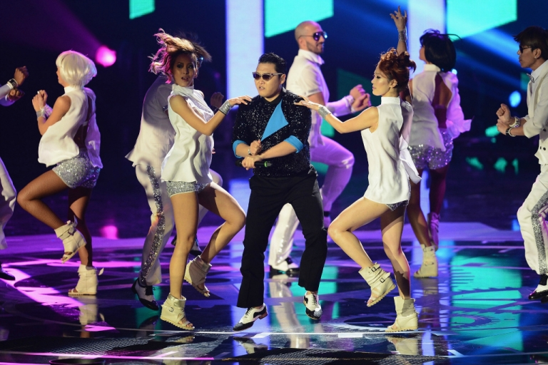 <p>Psy performs 'Gangnam Style' onstage at the MTV EMA's 2012 at Festhalle Frankfurt on November 11, 2012.</p>