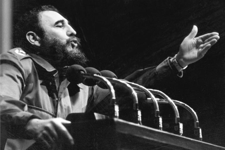<p>Fidel Castro addresses crowd in the 1970s in Havana.</p>