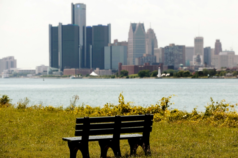 <p>The Detroit skyline.</p>