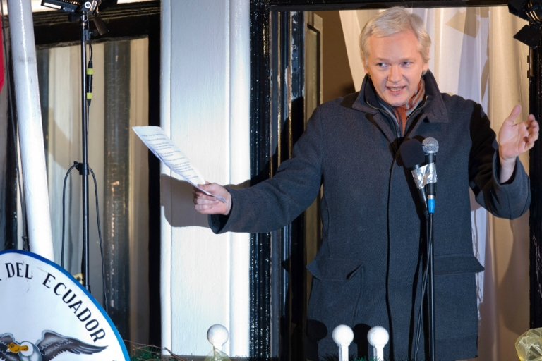 <p>In this file picture taken on December 20, 2012, Wikileaks founder Julian Assange addresses members of the media and supporters from the window of the Ecuadorian embassy in London.</p>