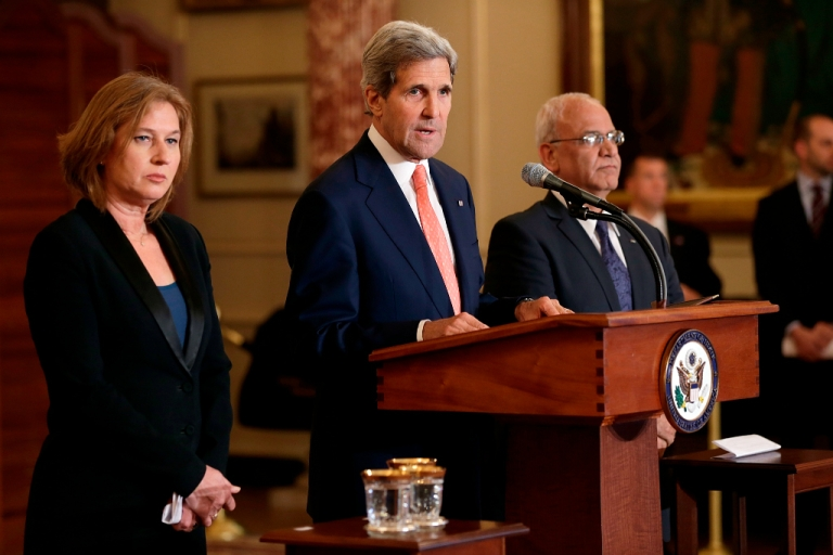 <p>U.S. Secretary of State John Kerry (C) makes a statement with Israeli Justice Minister Tzipi Livni (L) and Palestinian chief negotiator Saeb Erekat (R) during a press conference on the Middle East Peace Process Talks at the Department of State on July 30, 2013 in Washington, DC.</p>