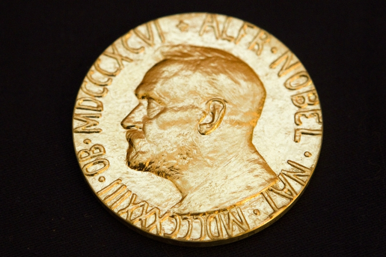 <p>This picture taken on December 10, 2010 shows the front of the Nobel medal.</p>