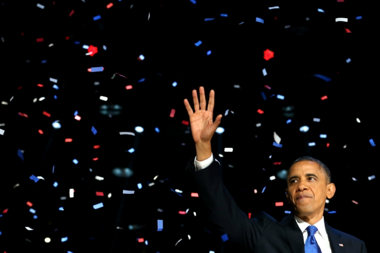 <p>U.S. President Barack Obama delivers his victory speech after being reelected for a second term on November 6, 2012.</p>