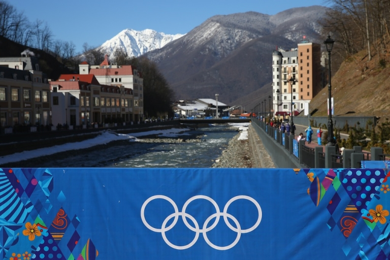 <p>A general view of Rosa Khutor Mountain village cluster is seen prior to the Sochi 2014 Winter Olympics on February 3, 2014 in Sochi, Russia.</p>