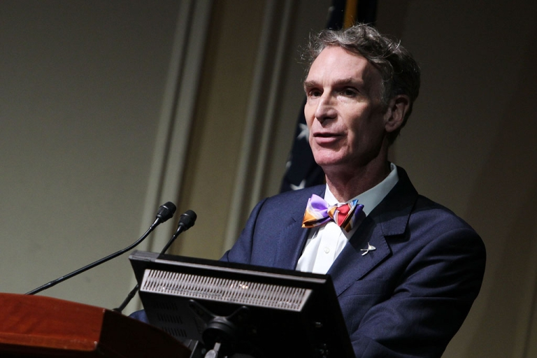 <p>Bill Nye speaks at the Celebration of Carl Sagan at The Library of Congress on November 12, 2013 in Washington, DC.</p>
