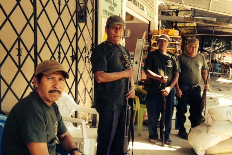 <p>Mexican community police in Tierra Colorada, Guerrero state.</p>