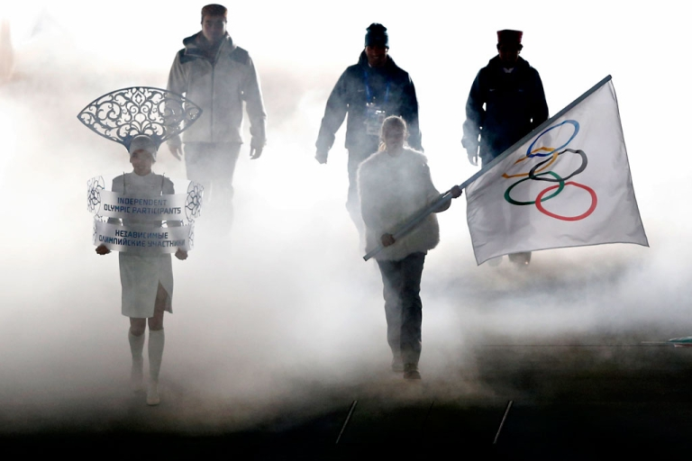 <p>Independent Olympic Participants (IOP), alpine skier Himanshu Thakur (R), cross-country skier Nadeem Iqbal (C) and luger Shiva Keshavan (L), enter during the Opening Ceremony of the Sochi Winter Olympics at the Fisht Olympic Stadium on Feb. 7, 2014 in Sochi.</p>