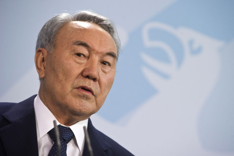 <p>Kazakhstan's President Nursultan Nazarbayev addresses a press conference at the chancellery in Berlin Feb. 8, 2012.</p>