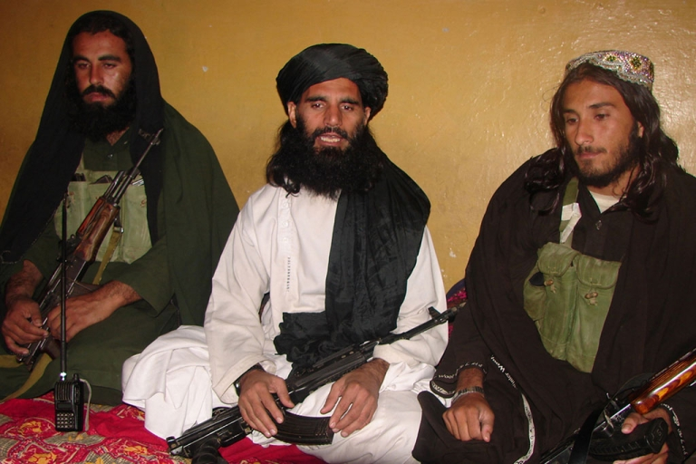 <p>This undated photograph shows Asmatullah Shaheen (C) talking with media in an undisclosed location in northwest Pakistan. Asmatullah Shaheen was ambushed in Dargah Mandi village near Miranshah, the main town of the troubled North Waziristan tribal district.</p>