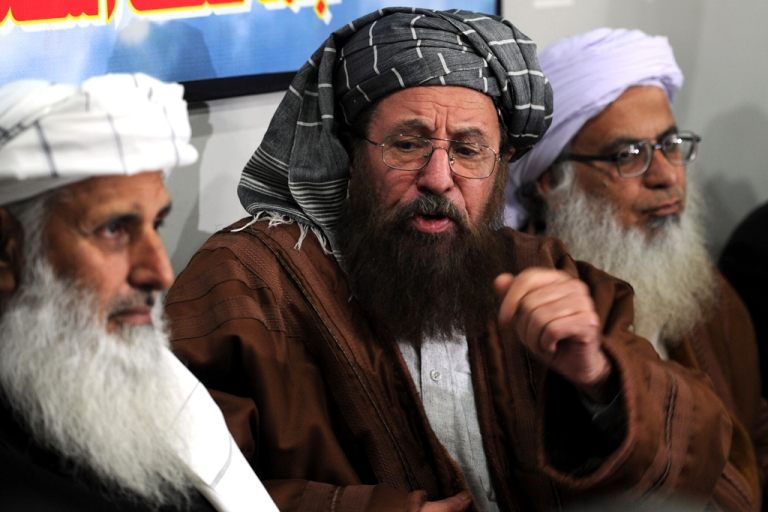 <p>Members of a committee from Tehreek-e-Taliban Pakistan (TTP) which was set up to hold talks with the government of Pakistan speak with media representatives in Islamabad on February 4, 2014.</p>